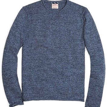 Men's Funnelneck Placed-Cable Pullover Sweater