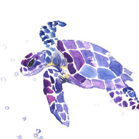 Sea Turtle, Original painting, 12 X 9 in, blue purple sea world animal art