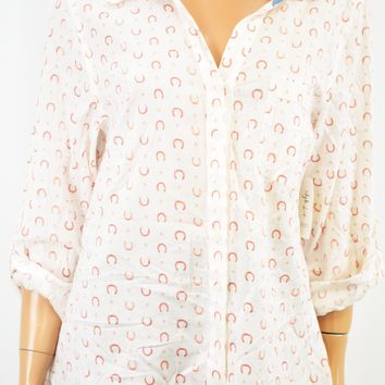 Style&Co Women's Cotton White Printed Button Down Shirt Top Small S