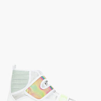 Raf Simons White & Green Holographic Velcro High Top Sneakers for men | SSENSE