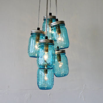 Feelin' Blue - Mason Jar Chandelier Featuring 6 Blue Perfect Mason Jars - Direct Hardwire Hanging Lighting Fixture - BootsNGus Lamps