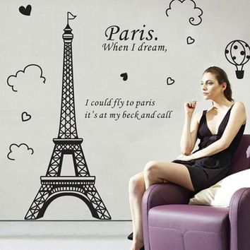 DCCKU7Q Super Deal wall stickers 3D Paris Eiffel Tower Removable Vinyl Art Decal Mural Home Room Wall Sticker XT