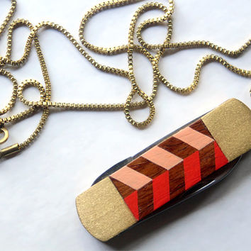 Vintage Pocket Knife Necklace with Hand Painted Chevron Stripe - Red and Peach