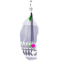 Crystalline Gem Indian Feather Drop Belly Ring | Body Candy Body Jewelry