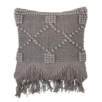 Grey Textured Cotton Pillow