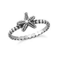 Oxidized Sterling Silver Starfish Ring