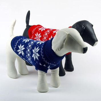 Winter Warm Dogs Pet Cat Sweater Clothes Snowflake Knit Coat Cozy Apparel