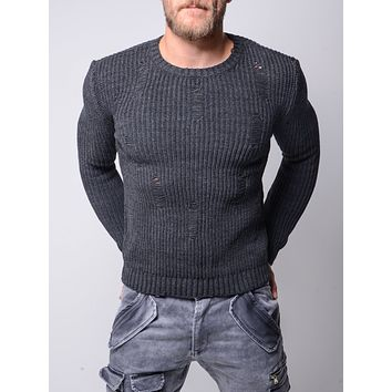 MENS DISTRESSED GRAY SWEATER 4602
