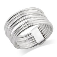 MIMI 925 Sterling Silver 7 Day 7 Band Stacked Ring