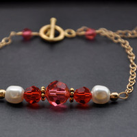 Pink Gold Bracelet, Poppy Red, Swarovski Pearl, Spring/Summer Jewelry