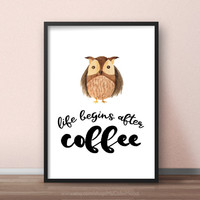 Owl kitchen decor, Owl art printable, Owl decoration, Owl coffee wall art, Funny coffee quotes, Coffee decor for kitchen, Coffee owl artwork