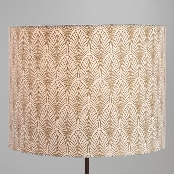 Gold Fan Cotton Drum Table Lamp Shade