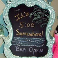 CHALKBOARD-Pearl Blue  Baroque Style Magnetic Chalk Board-Kitchen, Wedding Table Numbers- Office - great gift Idea