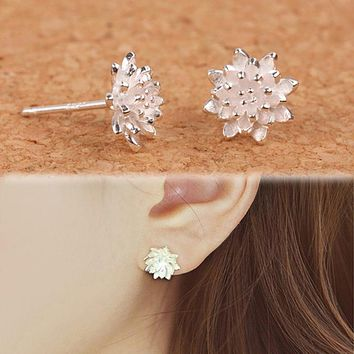 2016 Cute Female Handmade Jewellery Women's 925 Sliver Lotus Flower Ear Stud Earrings