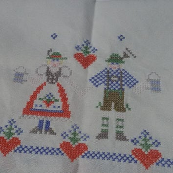 50's German Folk Cross Stitch Tablecloth & Hearts- Handmade Thick White Cotton Tablecloth - Folk Bier Lover Couple Petit Point Embroidered