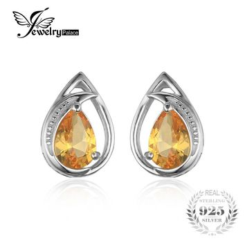 JewelryPalace Elegant 1ct Pear Created Orange Sapphire Studs Earrings Genuine 925 Sterling Silver Fashion Fine Jewelry For Women