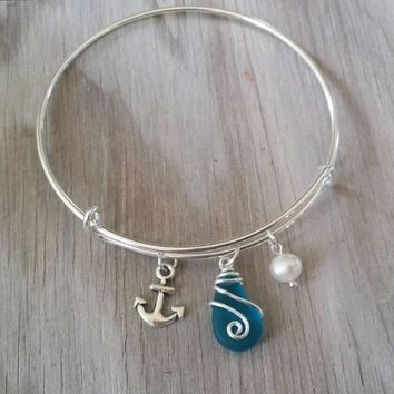 Handmade in Hawaii, wire wrapped blue sea glass bracelet,anchor charm,  Sea glass jewelry,beach glass jewelry,Hawaiian jewelry.