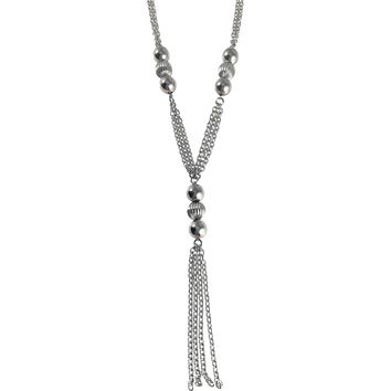 """Stainless Steel Long Necklace 29"""" with Shiny Ball Accents and Tassel"""