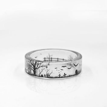 Fashion Handmade Transparent Bat Ring Trees Scenery Inside Epoxy Resin Women Men Finger Bague Anillos Mujer Jewelry BS-0015N