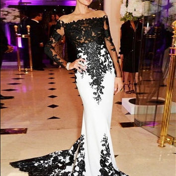 Shoulder Long Sleeves Mermaid Celebrity Dresses 2015 Black And White Lace Applique Women Evening Gown Prom Dress G566