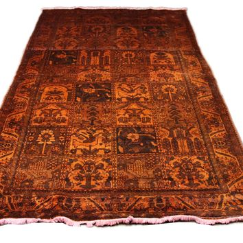 6x10 Overdyed Orange Vintage Oriental Rug 2729