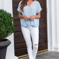 Casual Motivation Top, Ice Blue