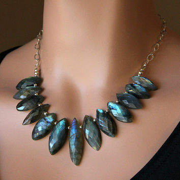 Flash Labradorite Dagger Bib Necklace, 925 Sterling Silver, Chunky Necklace, Statement Necklace, OOAK