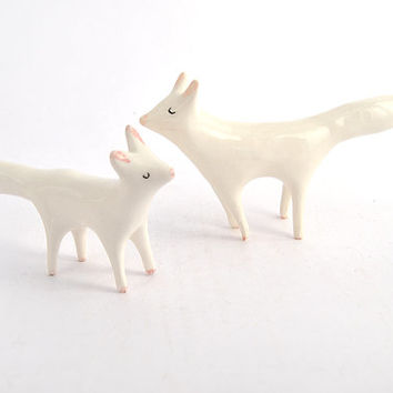 Pair of Little Ceramic Miniatures in White Clay  Artic Fox Shaped
