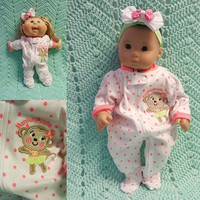 "Baby Doll Clothes to fit 15 inch baby doll ""Monkey Cute"" doll outfit with sleeper and headband hair clip Bee monkey hula skirt L9"