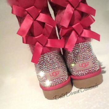 ICIK8X2 Blinged Out PINK Bailey Bow Uggs w/ Swarovski Crystals- PINK Uggs with Crystal Bling