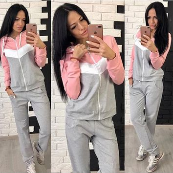 Light Grey Patchwork Zipper 2-in-1 Hooded Drawstring Waist Long Jumpsuit