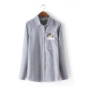 Summer Women's Fashion With Pocket Embroidery Cats Stripes Blouse [6513108231]