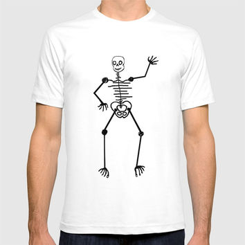 Black Skeleton on white T-shirt by Zia
