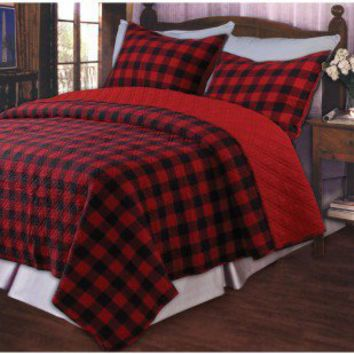 Greenland Home Fashions Western Plaid Red Quilt Set - GL-0905M - Quilts & Coverlets - Bed & Bath