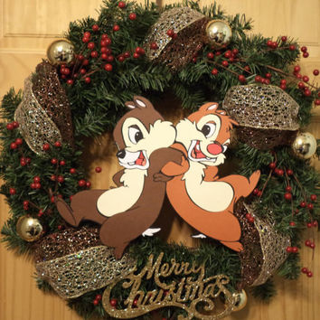 Price cut 25.00 / Chip N' Dale / Chipmunks in my Christmas Wreath