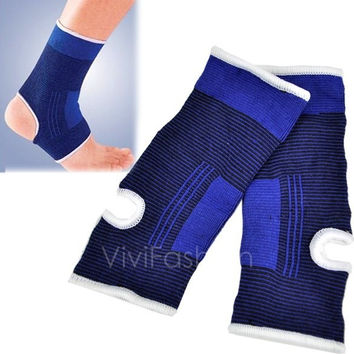 New 1 Pair Ankle Protection Elastic Brace Guard Support Sports Gym Blue VVF = 1929962628