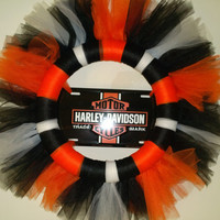 "Harley Davidson 14"" TULLE Wreath TUTU Door Decor License Plate Motorcycle"
