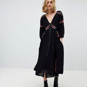 Free People Day Glow Midi Embroidered Dress at asos.com