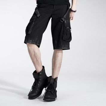 Punk rave Casual Fashion Mens Shorts Knee Middle Length Steampunk Motorcycle Trousers Summer Style