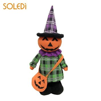 Beautiful Plush Doll Halloween Doll Halloween Decoration Extensible Cloth Pumpkin Black Cat Witch Ghost
