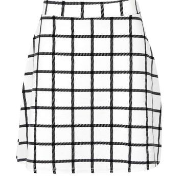 Vicki Grid Check A Line Mini Skirt