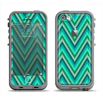The Vibrant Green Sharp Chevron Pattern Apple iPhone 5c LifeProof Fre Case Skin Set