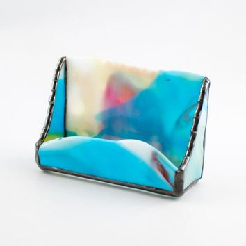 Unique Business Card Holder, Modern Desk Accessories, Multi Color Stained Glass, Desktop Organizer, Home Office Decor, One of a Kind Gifts