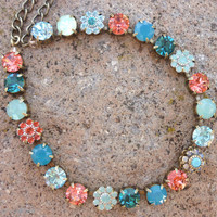 swarovski crystal choker, gypsy colors, swarovski necklace, turquoise and padparadscha, tennis necklace