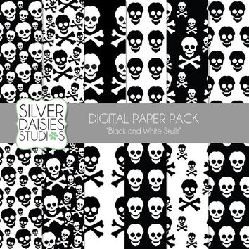 "Skull Digital Paper 12 Pack - 12""x12"" black and white Themed Set - Digital Scrapbooking - skull and crossbones"
