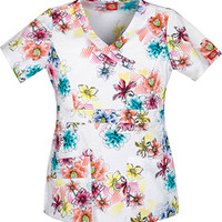 Gen Flex by Dickies Womens Mock Wrap Print Top