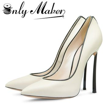 Onlymaker Shoes Woman High Heels Bridal Shoes With Bow Sexy Women Shoes High Heels Pointed Toe Stilettos Pumps Wedding Shoes For