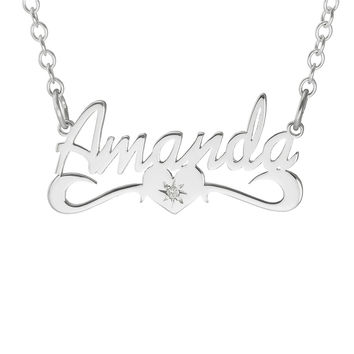 NAME NECKLACE WITH SCROLL AND DIAMOND - STERLING SILVER