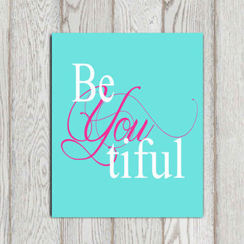 Beyoutiful printable Nursery wall art decor Little girl bedroom decor Turquoise Pink aqua nursery art Baby shower 5x7, 8x10 INSTANT Download