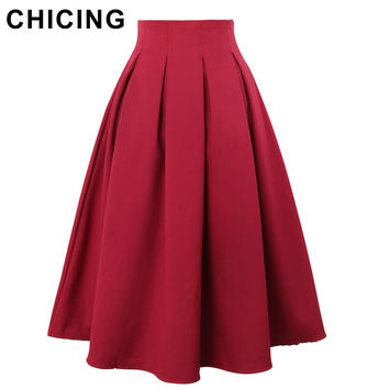 CHICING Women Pleated Skirts 2016 Summer Vintage High Waist Knee Length Office Workwear Flared Tutu Saias Femininas A150114
